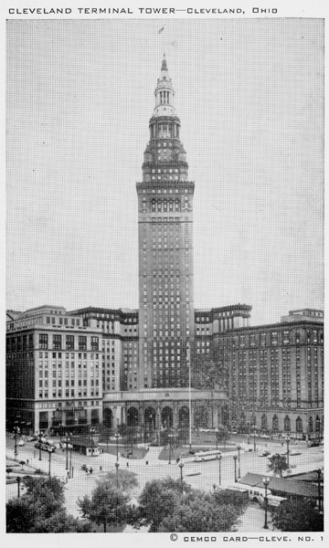 """Cleveland Terminal Tower looking S.W., across Public Square. Opened to the public in 1928. The Observation Tower on the 42nd Floor is 786 feet above Lake Erie. The tower building is the center of the terminal group which includes Higbee Co., Dept. Store, Hotel Cleveland, Cleveland Union Terminal and hundreds of offices and store units. It is the tallest building in the United States outside New York City."" -- card verso."
