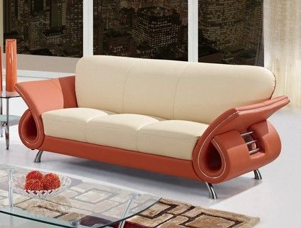 Lowest Price Online On All Global Furniture USA Charles Leather Sofa In Beige And Orange