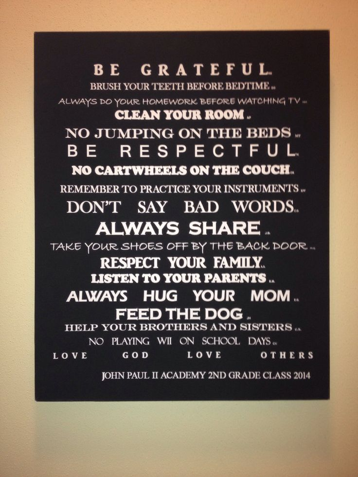 """Fun class auction project! 2 nd grade Class Project for school Auction.     """"Our House Rules"""".   Each student gave one of their favorite or most important house rules. It was then printed on canvas with their initials behind the rule they gave."""