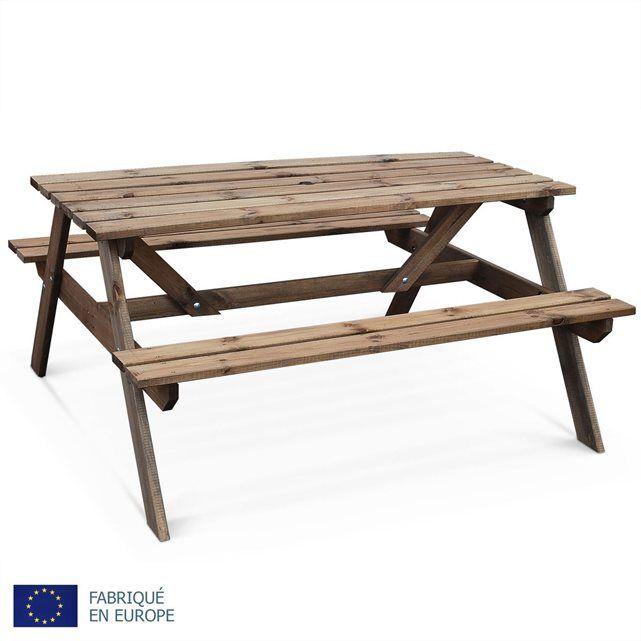 table de pique nique padano 150cm rectangulaire avec bancs salon de jardin en b - Salon De Jardin Mtal Color