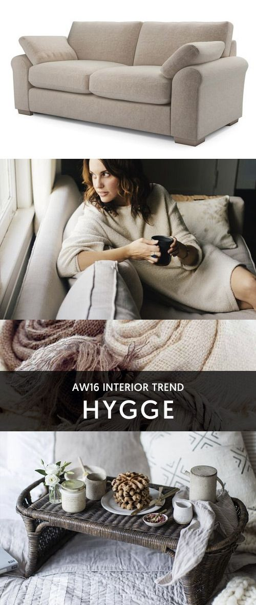 Interior Inspiration   Hygge is the popular Danish concept of enjoying the simple pleasures in life - being warm, happy and cosy. Slow down and bring Hygge into your home with soft fabrics, natural textures and cosy corners - all lit by candlelight... #theloungeco #hygge #trend #moodboard #winter #cosy #warm #lifestyle #sofa #chair #cushion #throw #scandi