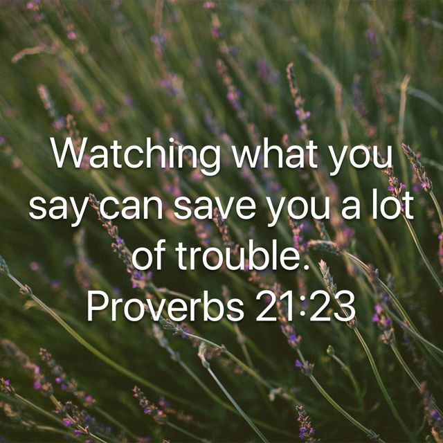 """""""Whoever guards his mouth and tongue Keeps his soul from troubles."""" Proverbs 21:23 NKJV"""
