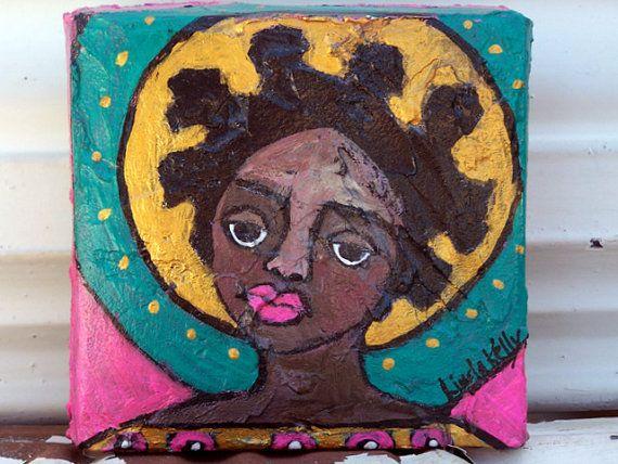 Black Folk Art Angel Original Painting on canvas by lindakellyart, $40.00