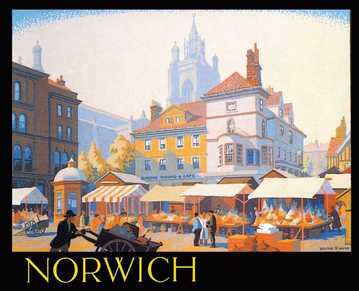 Norwich The market square shown here is dominated by the church of St Peter Mancroft which dates from 1430 . This painting was commissioned by the city council and shows a wonderful English Market day around 1930. LNER used this colourful artwork for their poster. Artwork by Wilfrid Rene Wood ( 1888- 1976 ).17
