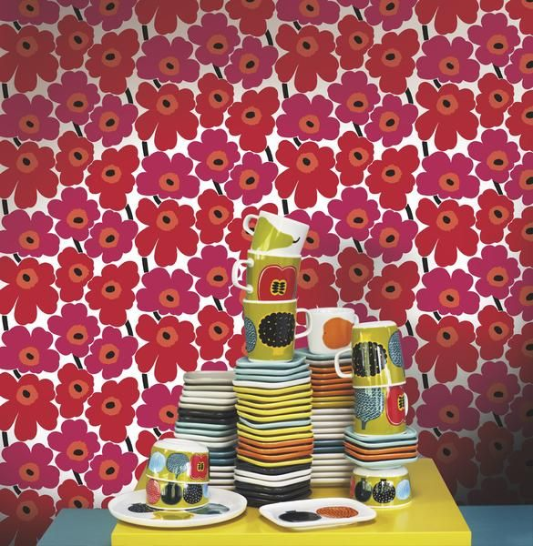 Marimekko Marimekko  Pieni Unikko Wallpaper Berry Red/Crimson Red - KIITOSlife - 2
