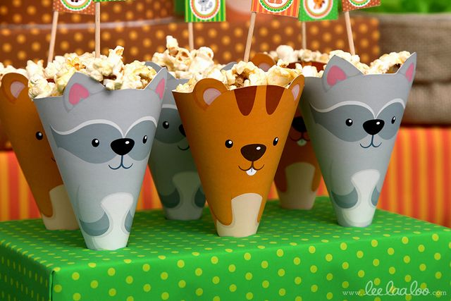 Cute popcorn holders at a Woodland birthday party! See more party ideas at CatchMyParty.com!