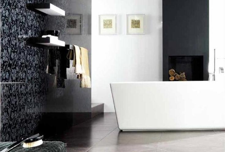 Venis 'Deco Crystal Dark' Tile | A classic print in a bold dark statement wall | Ceramo