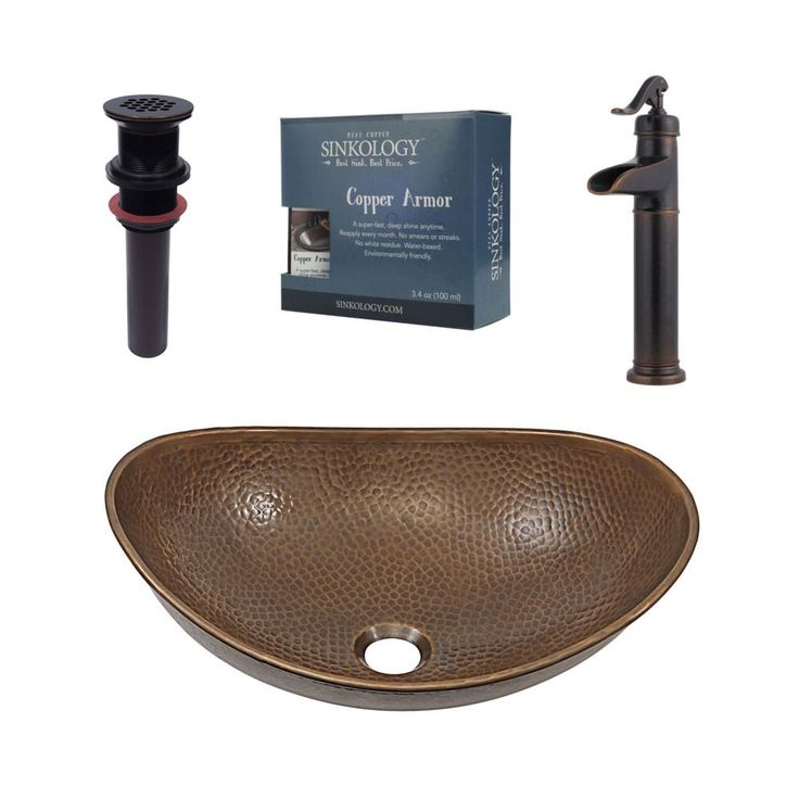SINKOLOGY Pfister All-In-One Copper Vessel Sink Confucius Design Kit with Ashfield Rustic Bronze Vessel Faucet, Antique Copper