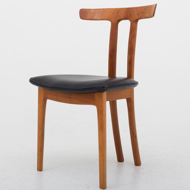 """""""T Chair"""" in cherry & black leather"""