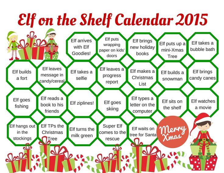 Elf on the Shelf Calendar 2015