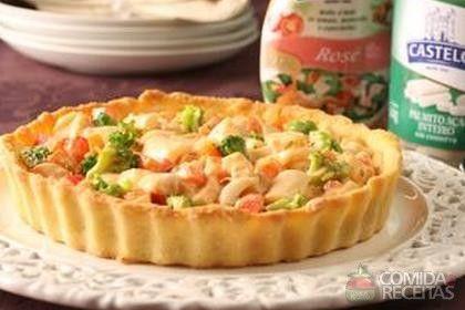 Receita de Torta fria de palmito e legumes