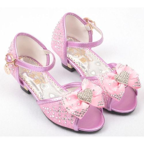 Fuchsia Beaded Low Heel Flower Pageant Party Girl Girls Shoes Sandals SKU-133330