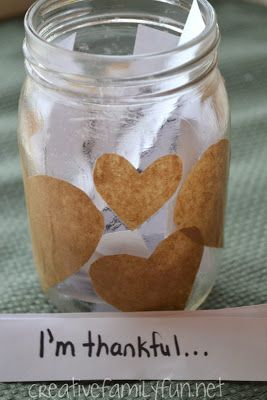 """""""Thankful Jar from Creative Family Fun. A simple craft that fosters gratitude throughout the holiday season"""""""