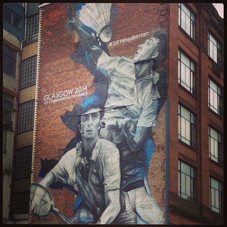 The fantastic @Glasgow 2014 mural in the city celebrating #2014badminton, isn't it amazing?!  http://www.peoplemakeglasgow.com/what's-on/glasgow-2014/