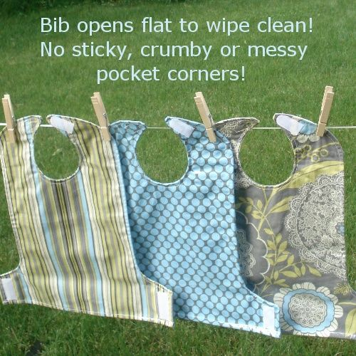 The Perfect Bib...What an ingenious idea!!  Probably will do in treated oilcloth type fabrics. :D