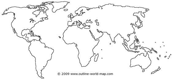 Blank maps of the world with transparent areas | Outline world map ...