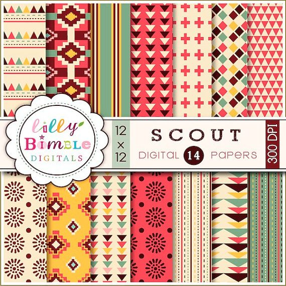 Digital Papers for cards, scrapbooking, SCOUT commercial and personal use. $5.00, via Etsy.
