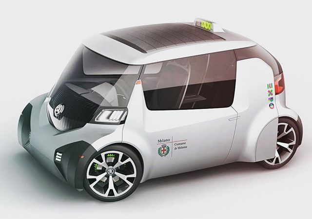 Skoda Ago Concept [2013]. Three-seater electric microcar, intended as an addition to the existing taxi of Milan for the year 2015. Design: Tigran Lalayan, Maxim Shershnev. #design #car #auto #automotive #skoda #spd #expo #exterior #taxi #micro #smart #electric #electro #art #pic #project #work #supercar #instacar #carporn #wheels #body #ride #drive #mech #mechanics #performance #team #tech #technology