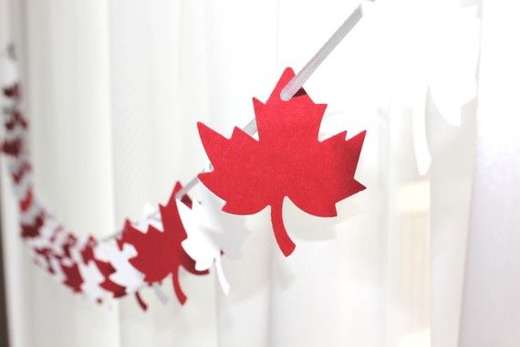 6 Foot - Maple Leaf Red and White Garland  -  Party Banner Garland perfect for Parties, Bridal or Baby Showers