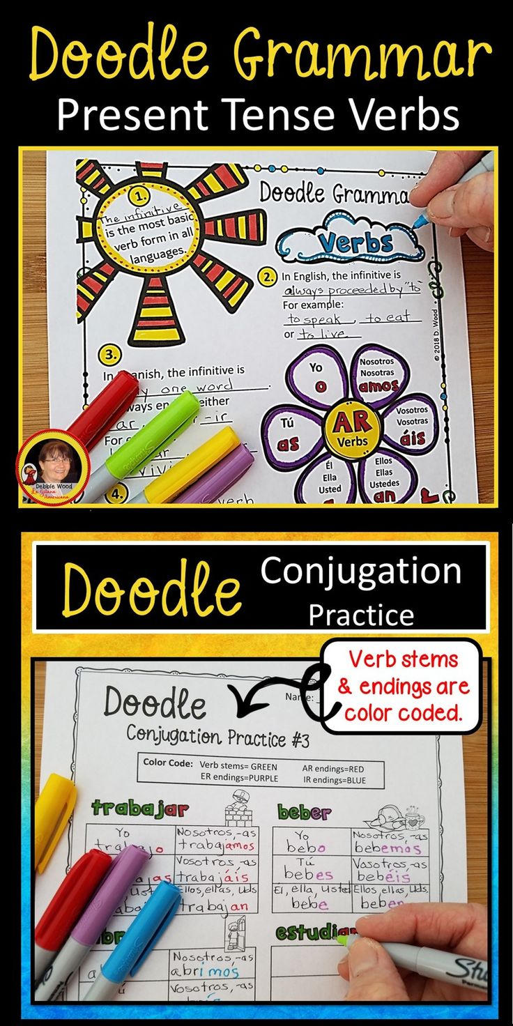 Try these Spanish Present Tense Verbs Doodle Grammar Notes to keep your students focused and engaged in class.  This specific color coded technique will pique student interest and retention!
