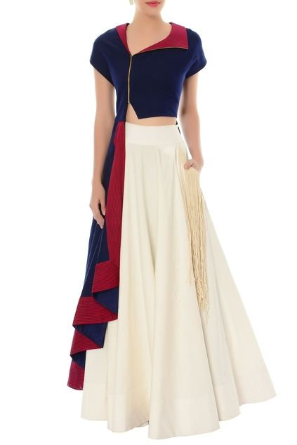 Navy blue asymmetric kurta & ivory flared skirt