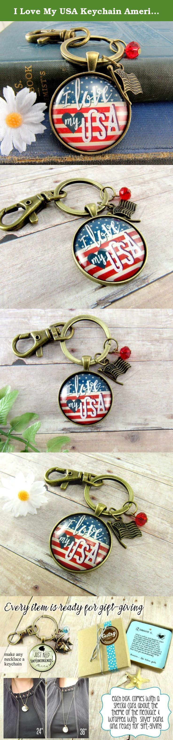 """I Love My USA Keychain American Flag Patriotic Vintage Style Keychain, Glass Round 1.20"""" Retro Looking Pendant Key Holder, Ring. This glass pendant key chain has a vintage feel with a rustic American flag background and a beautifully detailed zinc alloy bronze-colored American flag charm. It also has a red glass bead. It's a distinctive piece of patriotic jewelry designed by Gutsy Goodness. -- ABOUT IT -- The image has an background of antique American flag with stars and stripes, along…"""