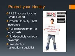 """Identity Theft Protection Service Features and benefits ◾Monthly """"Identity Score"""" Report ◾$25,000 Identity Theft insurance ◾Monitor 1,500 + Database Profiles ◾No deductible on legal coverage ◾Live identity restoration specialist ◾Automatic suspicious activity reports"""