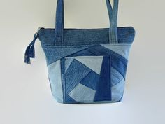 Denim Jean Crazy Quilt Purse, Upcycled Recycled Jean Bag, Blue Jean Fabric…