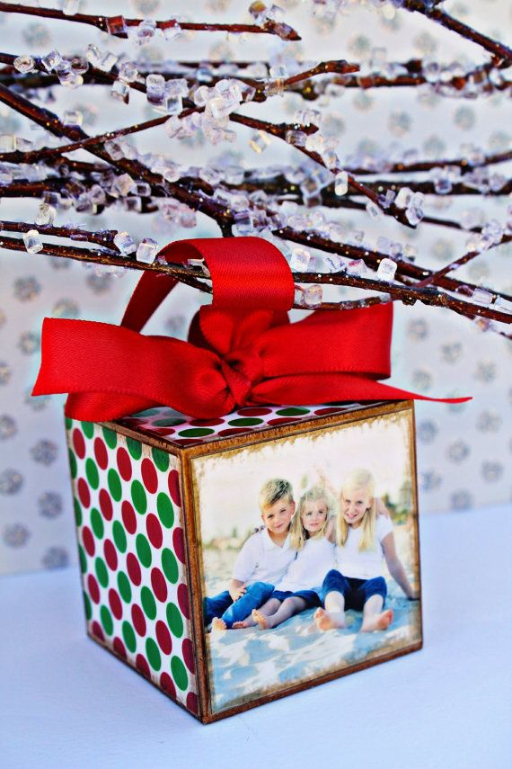 Good homemade gift idea - photo block Christmas ornament - would be fun to look at old photos!