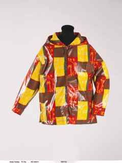A snap fronted parka or après-ski jacket made from Picasso's textile 'Toros'. Screen-printed vinyl-coated cotton, White Stag Clothing Co,. Portland, Oregon, 1963.