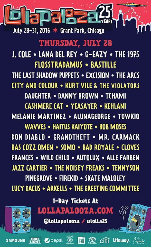 The Lineup For Lollapalooza 2016 Is Here