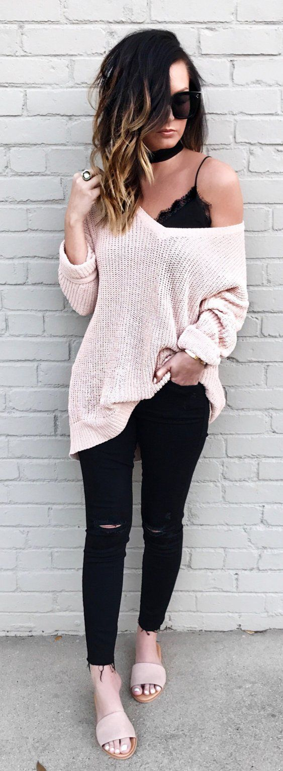 #spring #outfits Blush Knit & Black Ripped Skinny Jeans