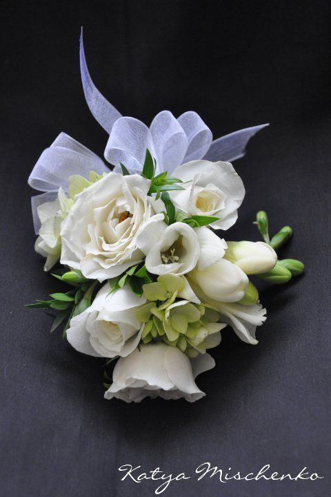 Elegant mother 39 s corsage white spray roses freesia for Flower sprays for weddings