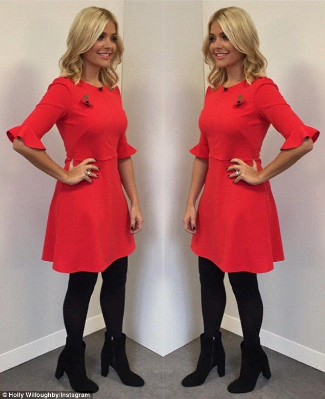 Stunner: Holly embraced winter brights on the show, wearing this beautiful red mini dress by high-street store Oasis and ankle boots by LK Bennett