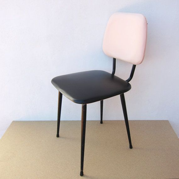 Restored Vintage 1970s Chair; Restored black and pale pink vintage chair; Vintage industrial chair