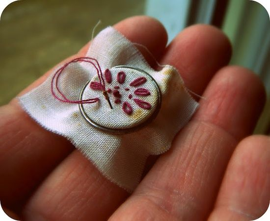Tiny embroidery hoop using keychain ring. Someday I will make that dollhouse I've always wanted to make. This will look cute with the tiny knitting basket I made years ago.