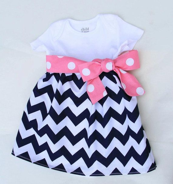 Navy Chevron Onesie Dress with Pink and White Polka Dot Fabric Sash