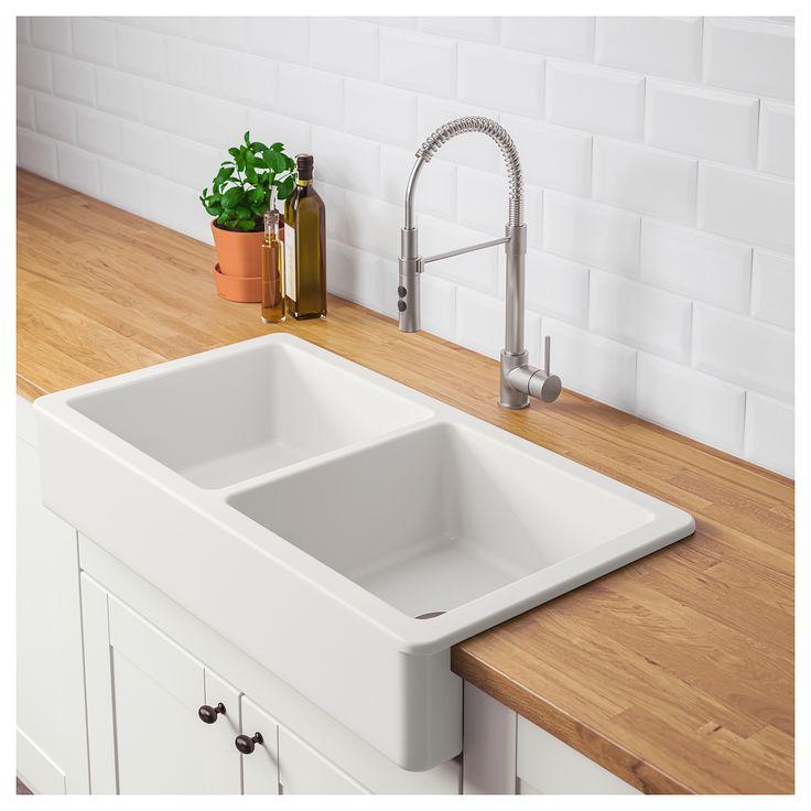 Havsen apron front double bowl sink white 37x19 93x48
