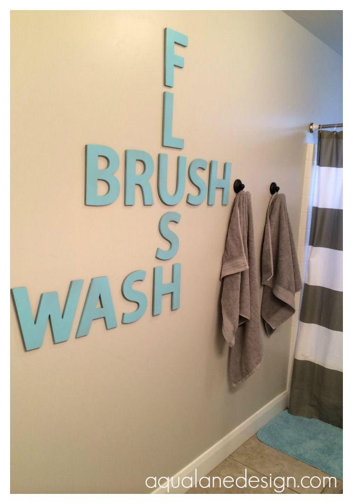 Bathroom Crossword Art | Aqua Lane Design
