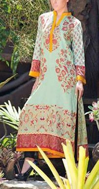 Buy Green Embroidered Cotton Lawn Kurti by Zenisha Embroidered Lawn Kurti by Al-Zohaib Collection 2015.