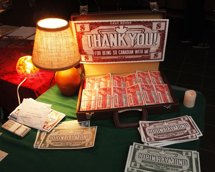 """This display of a suitcase full of Canadian Tire Money both welcomed and thanked audience members as they arrived at the TRANZAC club in Toronto on Jan 24/25 for the """"Paper Nickels"""" live album recording shows."""