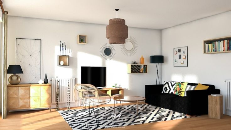 Un salon cuisine style ethnique chic by elo se n ret mes for Conception 3d appartement