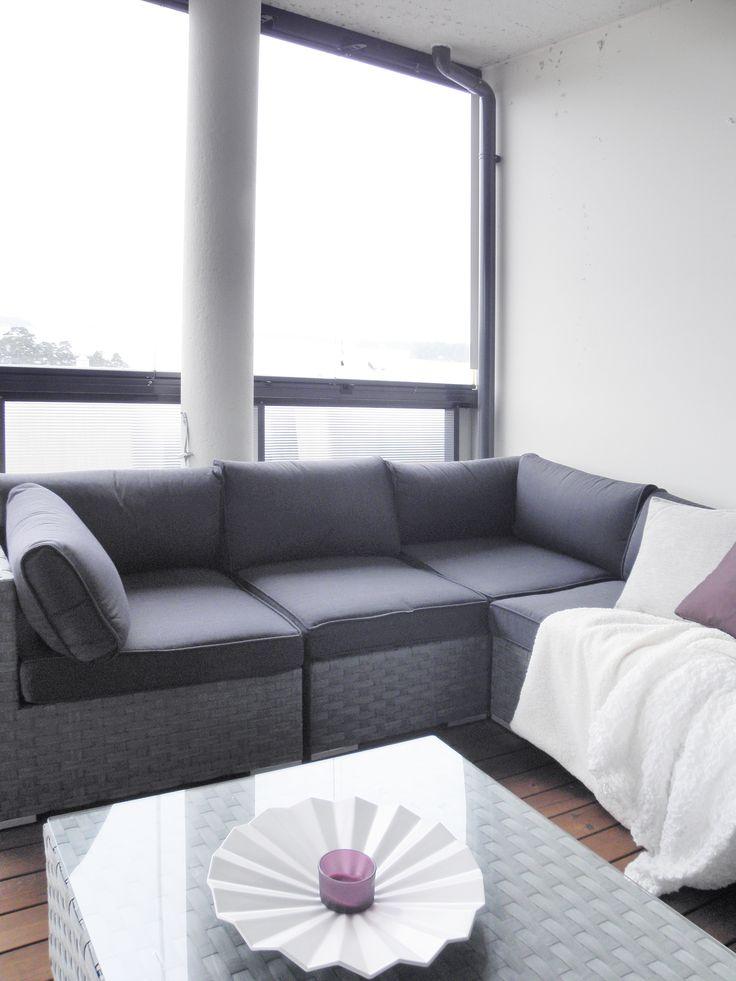 Apartment, balcony, interior design. Asunto, parveke, sisustussuunnittelu. Lägenhet, balkong, inredningsdesign.