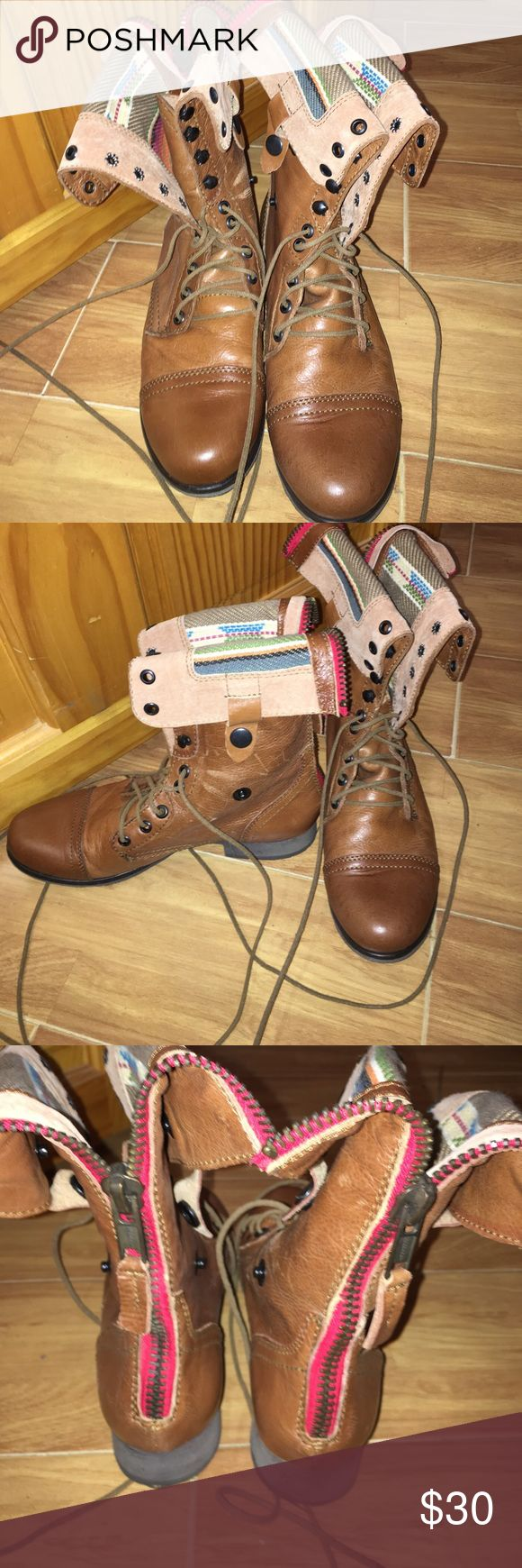 Steve Madden lace up booties. Never worn Steve Madden brown booties. Never worn size 7.5 Steve Madden Shoes