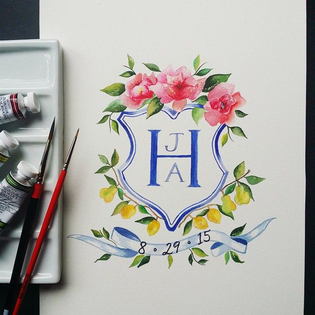 Latest #watercolor #wedding #crest for a new invitation suite. Next up, watercolor calligraphy for the save the date, invitation and reply cards! Busy weekend at Lemontree studio...