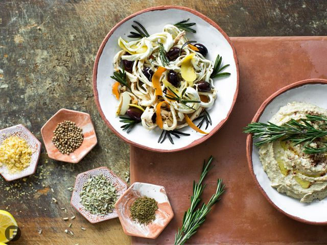 Citrus-Spice Marinated Angel-Hair Cheese with Olives