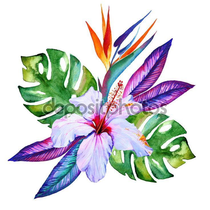 Тропические цветы Букет акварель, гибискус, plumeria, монстера, пальмы, райская птица