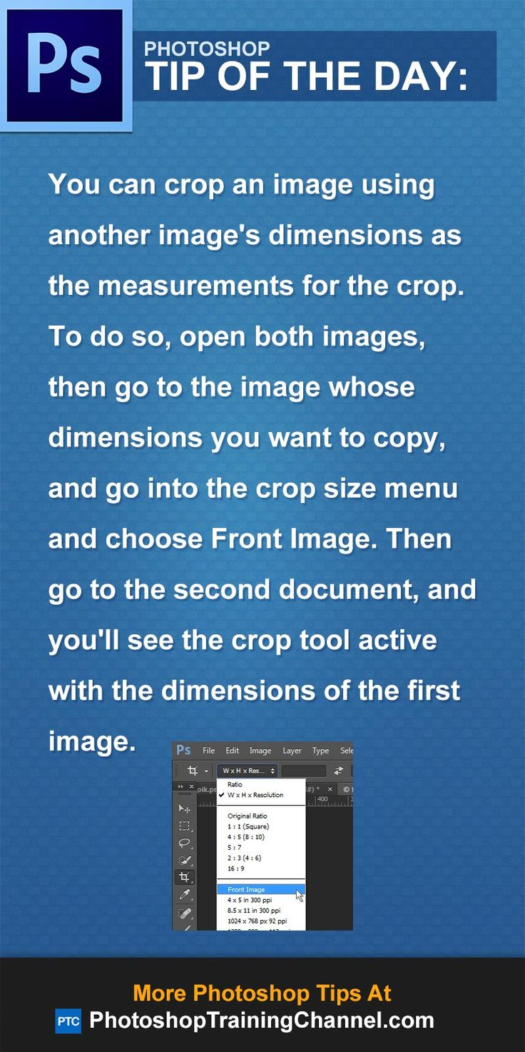 You can crop an image using another image's dimensions as the measurements for the crop. To do so, open both images, then go to the image whose dimensions you want to copy, and go into the crop size menu and choose Front Image. Then go to the second document, and you'll see the crop tool active with the dimensions of the first image.