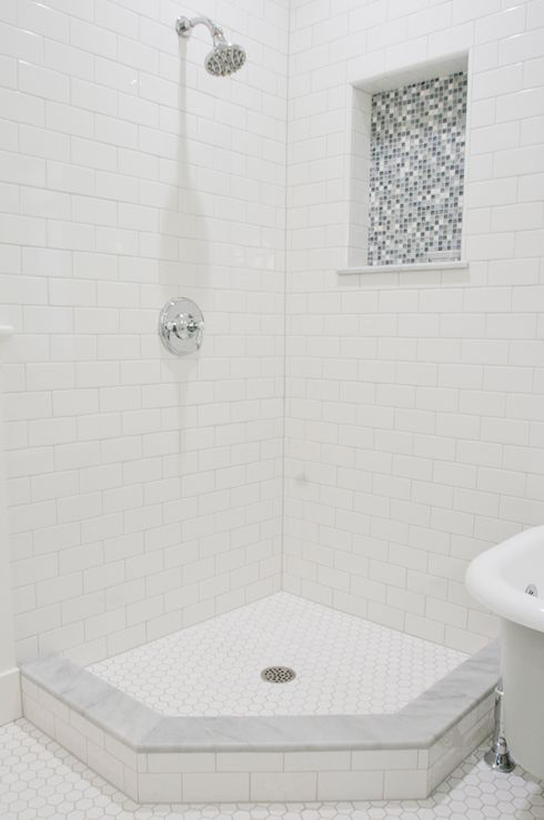 Tiek Built Homes - bathrooms - subway tiles, shower surround, polished nickel, shower kit, hex, tiles, floor, blue, mosaic, tiles, subway ti...