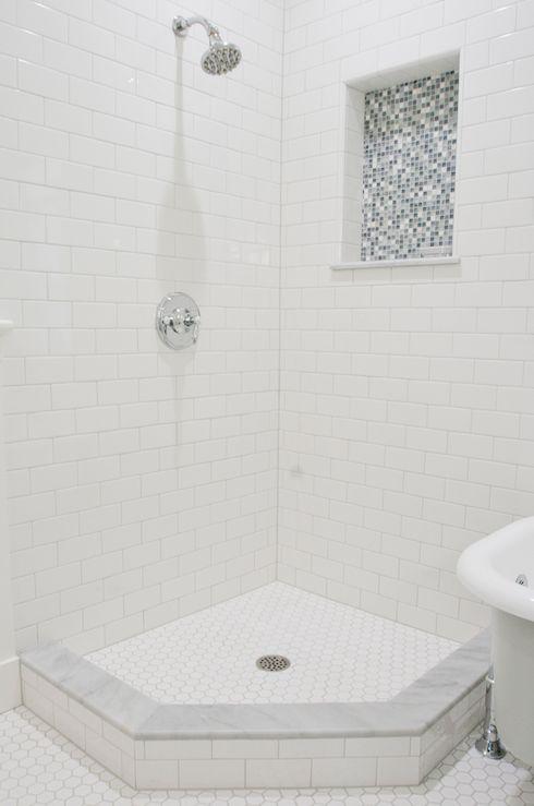 Tiek Built Homes - bathrooms - subway tiles, shower surround, polished nickel, shower kit, hex, tiles, floor, blue, mosaic, tiles, subway ti...
